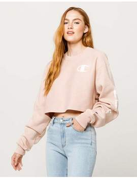 Champion Crop Crew Reverse Weave Blush Womens Sweatshirt by Champion