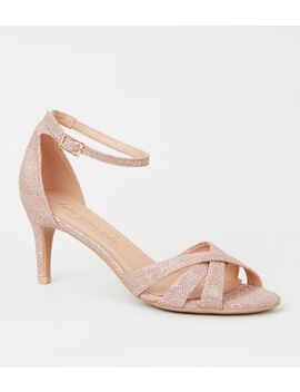 Rose Gold Glitter Mid Stiletto Heels by New Look