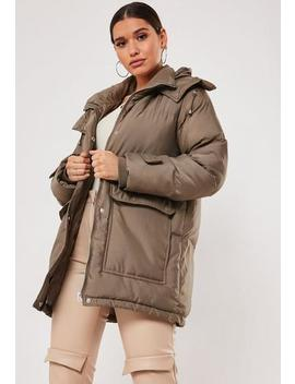 Khaki Patch Pocket Hooded Padded Coat by Missguided