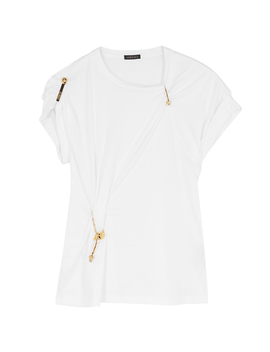 White Embellished Cotton T Shirt by Versace