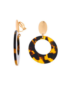 """Gold 2"""" Round Resin Tortoiseshell Clip On Drop Earrings   Brown by Claire's"""