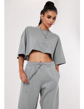 Grey Drop Shoulder Oversized Crop Top by Missguided