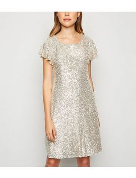 Gold Sequin Flutter Sleeve Mini Dress by New Look