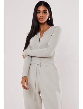 Grey Ribbed Long Sleeve Button Front Bodysuit by Missguided