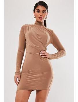 Camel Slinky High Neck Drape Mini Dress by Missguided