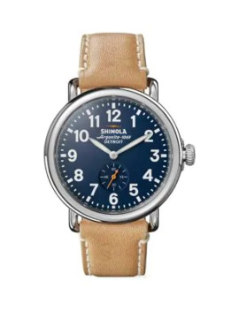 Runwell Stainless Steel & Leather Strap Watch by Shinola