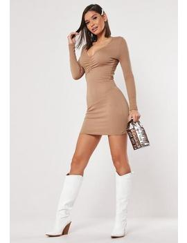 Camel Ruched V Neck Bodycon Mini Dress by Missguided