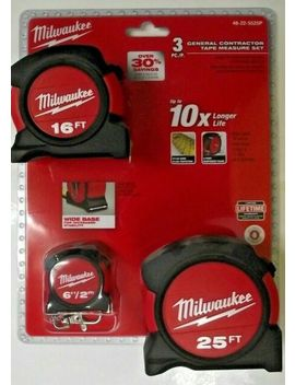 Milwaukee 48 22 5525 P 3pc General Contractor Tape Measure Set 25' 16' 6' by Ebay Seller