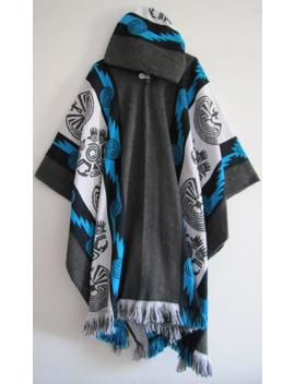 Poncho With Hood Wool Coat Mens Gray Blue Cape Indigenous Navajo Hopi   Handmade Ecuador by Etsy