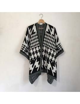 Poncho Black And White, Aztec Design, Geometric Navajo Cape Winter Kimono by Etsy