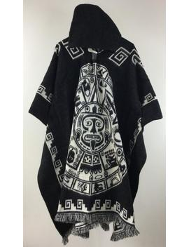 Poncho With Hood Wool Black Coat Mens Cape Indigenous Navajo   Handmade Ecuador by Etsy