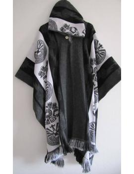 Poncho With Hood Wool Gray Black Coat Mens Cape Indigenous Native Navajo Hopi   Handmade In Ecuador by Etsy