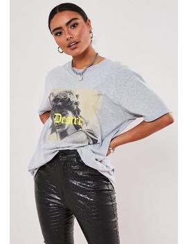 Grey Graphic Oversized T Shirt by Missguided