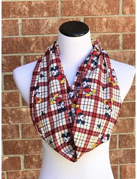 Mouse Scarf, Infinity Scarf For Mickey Lovers Long Scarf Loop Scarf, Plaid Scarf Cute Mouse Scarf Red White Navy Blue by Etsy