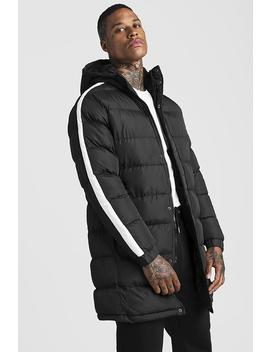 Longline Puffer With Arm Stripe by Boohoo