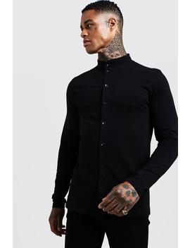 Muscle Fit Long Sleeve Grandad Jersey Shirt by Boohoo