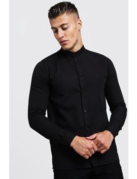 Slim Fit Long Sleeve Grandad Shirt by Boohoo