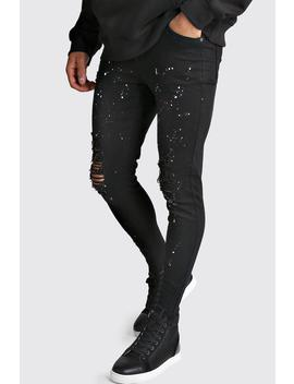 Super Skinny Jeans With Paint Splat by Boohoo