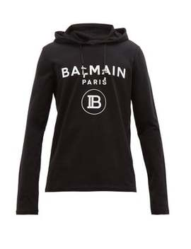 Logo Embossed Cotton Hooded Sweatshirt by Balmain
