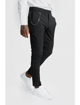 Stripe Chain Detail Smart Trousers by Boohoo