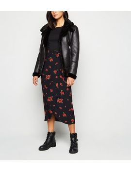 Black Rose Wrap Front Midi Skirt by New Look