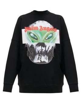 Alien Print Cotton Sweatshirt by Palm Angels