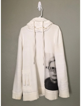 Aw17 White Ghost Funnel Neck Sweatshirt by Helmut Lang  ×