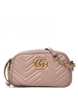 Gucci Calfskin Matelasse Small Gg Marmont Chain Shoulder Bag Taupe by Gucci