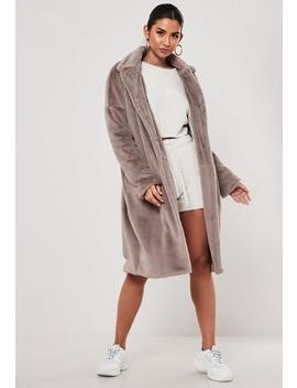 Mink Oversized Faux Fur Coat by Missguided