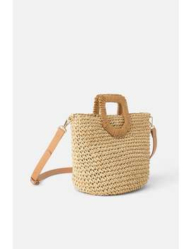 Braided Paper Basket Bag by Zara