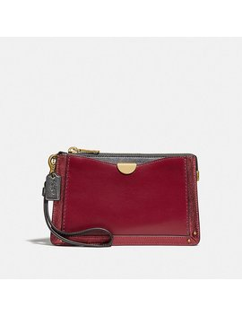 Dreamer Wristlet In Colorblock With Signature Canvas by Coach
