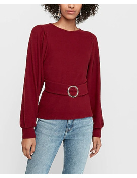 Ribbed Belted Blouson Sleeve Top by Express