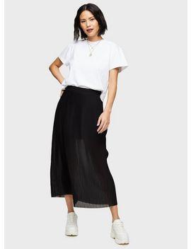 Black Pleated Mesh Midi Skirt by Miss Selfridge