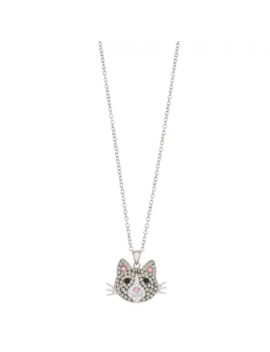 Crystal Gray Cat Pendant Necklace by Unbranded