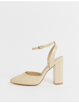 Truffle Collection Pointed Block Heel In Beige Croc by Asos