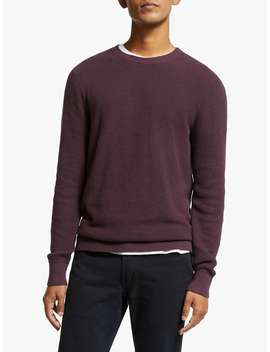 John Lewis & Partners Cotton Cashmere Waffle Jumper, Mulberry by John Lewis & Partners