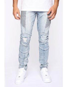 Wheelie Moto Jeans   Light Wash by Fashion Nova