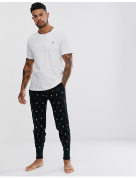 Polo Ralph Lauren Lounge Jogger In Black With All Over Player Logo Print by Polo Ralph Lauren