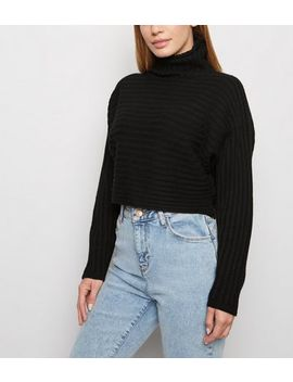 Petite Black Roll Neck Crop Jumper by New Look
