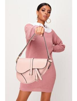 Dusky Pink Structured Saddle Bag by I Saw It First
