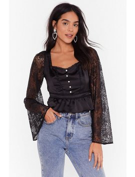 Lace Have Another Satin Ruffle Blouse by Nasty Gal
