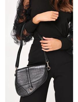 Black Croc Saddle Bag by I Saw It First