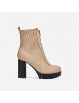 Healey Platform Zip Detail Cleated Sole Ankle Sock Boot In Nude Faux Suede by Ego
