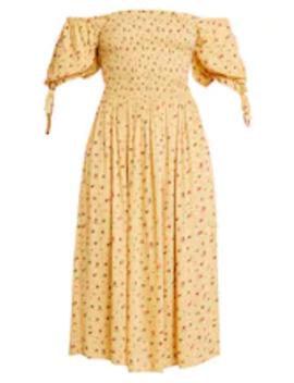Yellow Ditsy Shirred Midi Dress   Sukienka Letnia by Dorothy Perkins