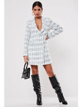 White Tweed Double Breasted Blazer Dress by Missguided