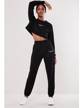 Black Crop Sweatshirt And Jogger Co Ord Branded Set by Missguided