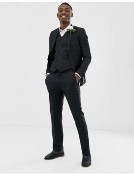 Asos Design Wedding Slim Suit Trouser In Black 100% Wool by Asos Design