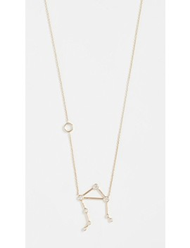 14k Gold Libra Necklace With White Diamonds by Lulu Frost