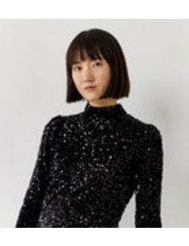 Sequin Puff Sleeve Top by Warehouse