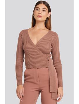 Kopertowy Sweter W Prążki Różowy by Na Kd